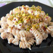 Pasta con ricotta e granella di pistacchio